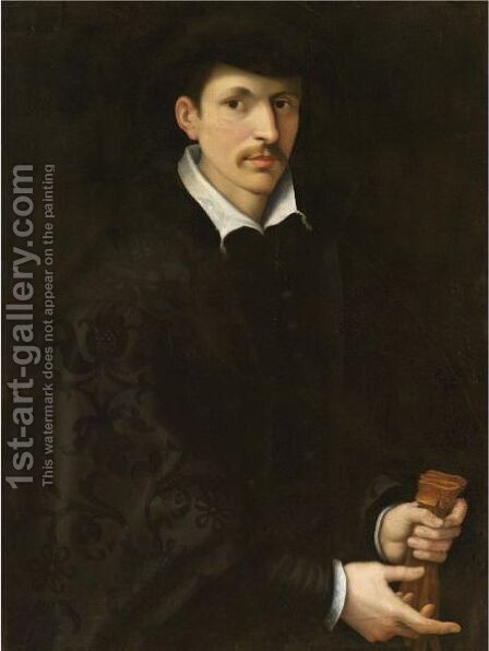 Portrait Of A Gentleman, Half Length, Wearing Black And Holding A Pair Of Gloves by (after) Francesco De' Rossi (see Salviati, Cecchino Del) - Reproduction Oil Painting