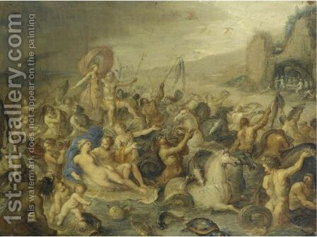 The Triumph Of Neptune by (after) Frans II Francken - Reproduction Oil Painting