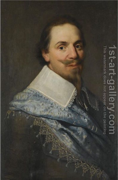 Portrait Of A Gentleman, Head And Shoulders, Wearing Grey With A Pale Blue Sash by (after) Michiel Jansz. Van Mierevelt - Reproduction Oil Painting