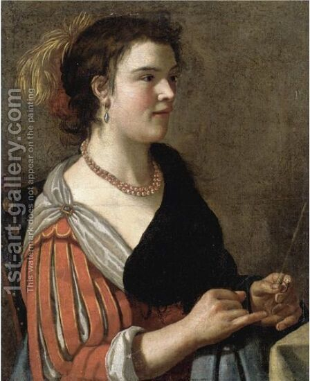 Portrait Of A Lady, Half Length, Dressed As A Fortune Teller And Holding A Divination Rod by (after) Adriaen Van Utrecht - Reproduction Oil Painting