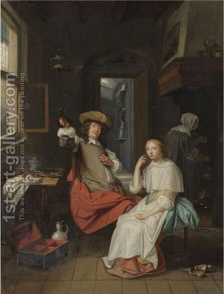 Interior With Cavalier And A Lady, Both Seated, With A Servant In The Background by Dutch School - Reproduction Oil Painting