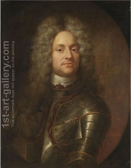 Portrait Of A Gentleman, Half-Length, Wearing Armour by (after) Joseph Vivien - Reproduction Oil Painting