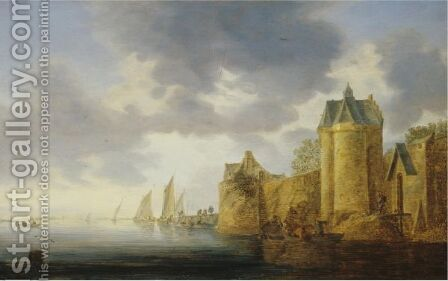 A River Landscape With Fishermen Lobster Potting, Further Figures On A Quay Beyond by (after)  Jan Van Goyen - Reproduction Oil Painting