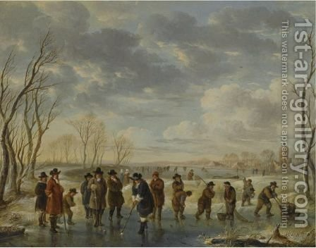 Winter Landscape With Elegant Figures Playing Kolf On A Frozen River by (after) Aert Van Der Neer - Reproduction Oil Painting