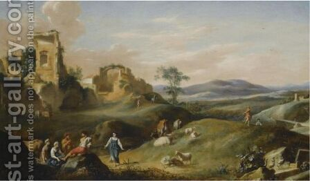 An Arcadian Landscape With Shepherds Dancing And Making Music by Bartholomeus Breenbergh - Reproduction Oil Painting