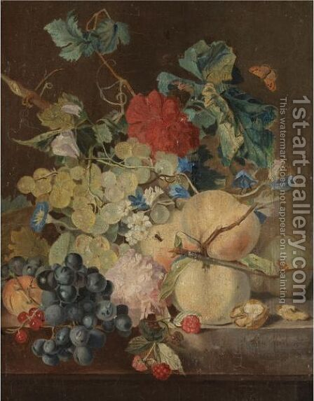A Still Life With Peaches, Grapes, Raspberries Together With Various Flowers On A Stone Ledge by (after) Jan Van Os - Reproduction Oil Painting
