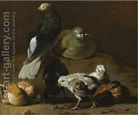 A Still Life With A Couple Of Pigeons Nesting And Preening Together With Four Chicks by Jan Victors - Reproduction Oil Painting