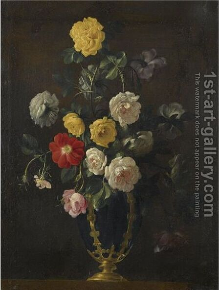 A Still Life With Roses And Various Other Flowers In A Vase by (after) Jean Picart - Reproduction Oil Painting