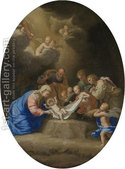 The Adoration Of The Shepherds, With Angels Looking On by (after) Ignazio Stella (see Stern Ignaz) - Reproduction Oil Painting