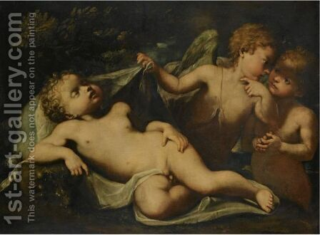 Cupid Asleep As Two Putti Whisper Beside Him by (after) Ignazio Stella (see Stern Ignaz) - Reproduction Oil Painting