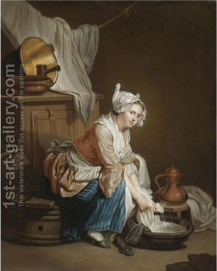 La Blanchisseuse by (after) Greuze, Jean Baptiste - Reproduction Oil Painting