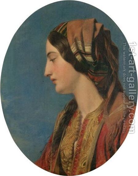 Head Of An Eastern Beauty by Henry Nelson O'Neil - Reproduction Oil Painting