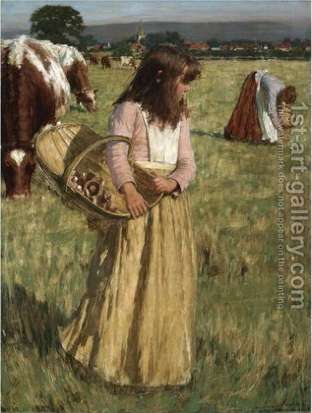 The Mushroom Gatherers by Henry Herbert La Thangue - Reproduction Oil Painting