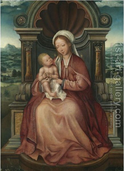 The Virgin And Child Enthroned by (after) Quinten Metsys - Reproduction Oil Painting