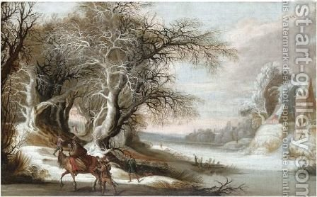 A Winter Landscape With Men Returning From The Hunt, And A Woman With A Child On Horseback by Gysbrecht Leytens - Reproduction Oil Painting