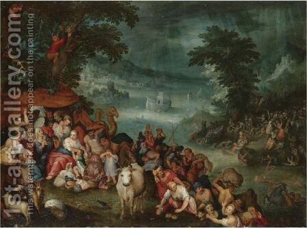 The Flood With Noah's Ark In The Background by (after) Jan The Elder Brueghel - Reproduction Oil Painting
