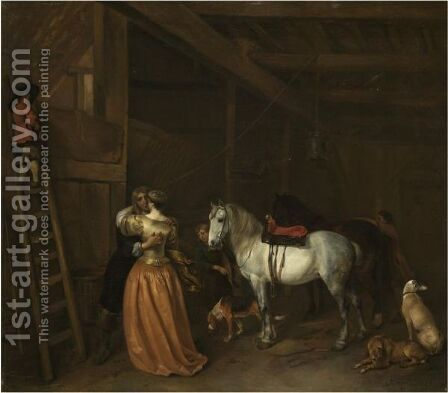 An Amorous Couple In A Stable With A Grey, A Bay Horse And Dogs by Hendrick Verschuring - Reproduction Oil Painting