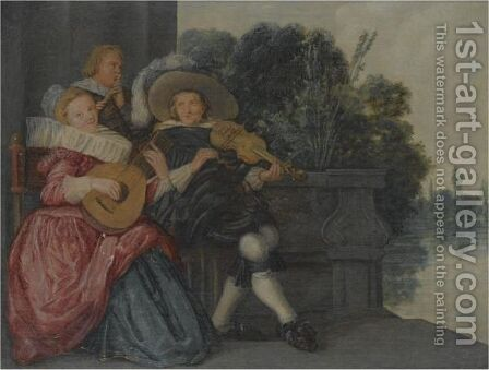 An Elegant Company Making Music On A Terrace Near Water by Dirck Hals - Reproduction Oil Painting