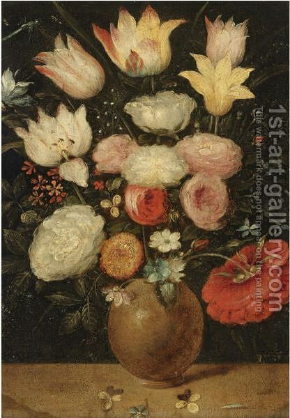A Still Life Of Various Flowers In A Vase by (after) Jan The Elder Brueghel - Reproduction Oil Painting