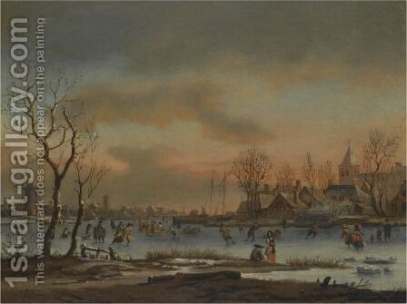 An Extensive Winter Landscape With Numerous Figures Skating, A Church Beyond by (after) Aert Van Der Neer - Reproduction Oil Painting