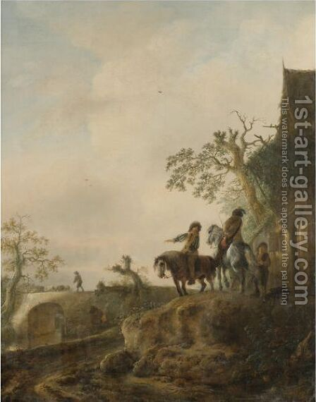 Horsemen Halting At An Inn, A Shepherd Driving His Flock Across A Bridge Beyond by Isaack Jansz. van Ostade - Reproduction Oil Painting