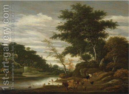 A River Landscape With Cattle by Jacob Salomonsz. Ruysdael - Reproduction Oil Painting