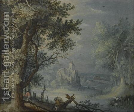 A Wooded Landscape With A Fortified Settlement In The Distance And Figures In The Foreground by (after) Roelandt Jacobsz Savery - Reproduction Oil Painting