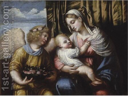 The Madonna And Child With An Angel by (after) Alessandro Bonvicino (Moretto Da Brescia) - Reproduction Oil Painting
