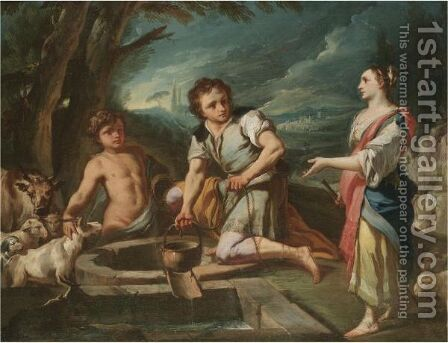 Jacob And Rachel At The Well by (after) Corrado Giaquinto - Reproduction Oil Painting