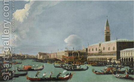 Venice, A View Of The Bacino Di San Marco With The Bucintoro Returning To The Molo On Ascension Day by (after) (Giovanni Antonio Canal) Canaletto - Reproduction Oil Painting