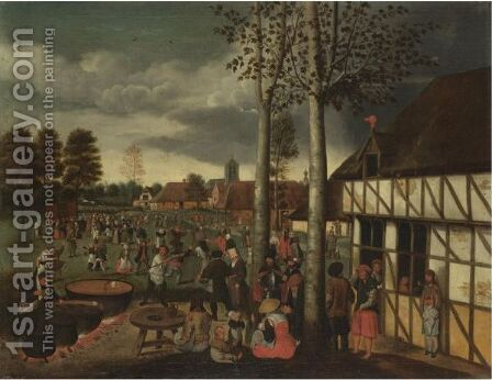 Peasants Merrymaking At A Village Kermesse by Hans van Wechlen - Reproduction Oil Painting