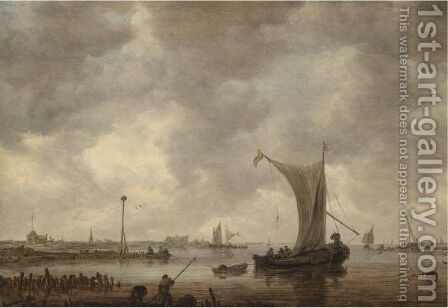 River Estuary With Shipping And Fishermen On The Shore by Jan van Goyen - Reproduction Oil Painting
