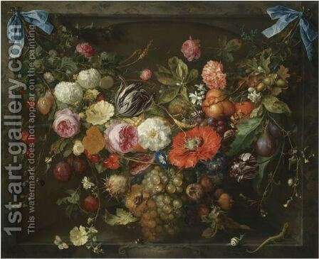 A Festoon Of Fruit And Flowers In A Marble Niche by Jan Davidsz. De Heem - Reproduction Oil Painting
