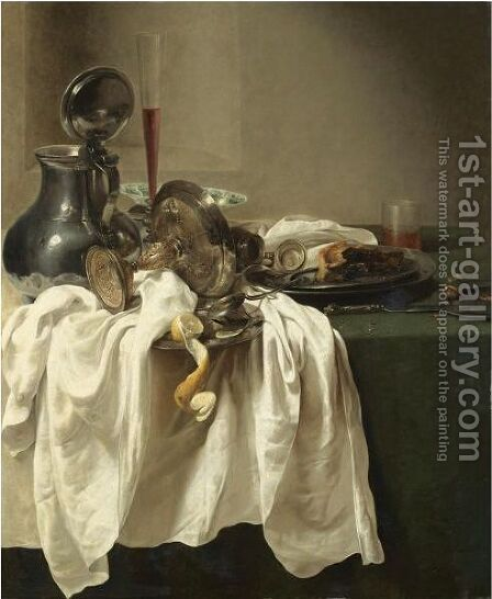 A Still Life With A Pewter Jug And An Overturned Tazza, A Porcelain Bowl, Wine Glass by Jan Jansz. den Uyl - Reproduction Oil Painting