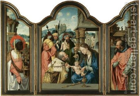 Triptych - Central Panel The Adoration Of The Magi - Left Inside Wing One Of The Magi, Balthasar - Right Inside Wing Saint Joseph by Belgian Unknown Masters - Reproduction Oil Painting