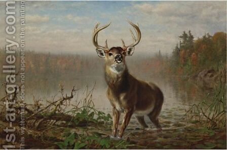 On The Alert by Arthur Fitzwilliam Tait - Reproduction Oil Painting