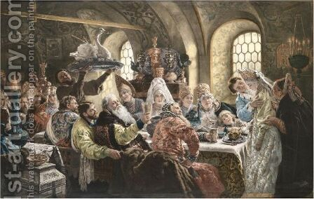 A Boyar's Wedding Feast And The Boyar's Audience by (after) Konstantin Egorovich Egorovich Makovsky - Reproduction Oil Painting