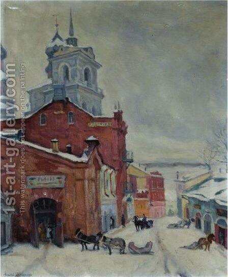 Russian Street In Winter by Arnold Borisovich Lakhovsky - Reproduction Oil Painting
