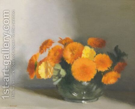 Bowl Of Marigolds by Clarice Beckett - Reproduction Oil Painting
