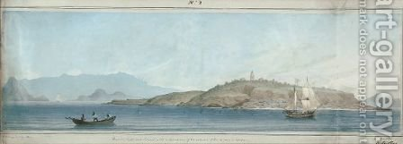 Raza (Or Light House) Island With A Distant View Of The Entrance Of Rio De Janeiro Harbour by Augustus Earle - Reproduction Oil Painting