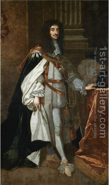 Portrait Of King Charles II (1630 - 1685) by (after) Sir Peter Lely - Reproduction Oil Painting