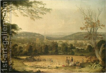 View Of Masham, Wensleydale, Figures Gathering The Harvest In The Foreground by J. Metcalfe - Reproduction Oil Painting