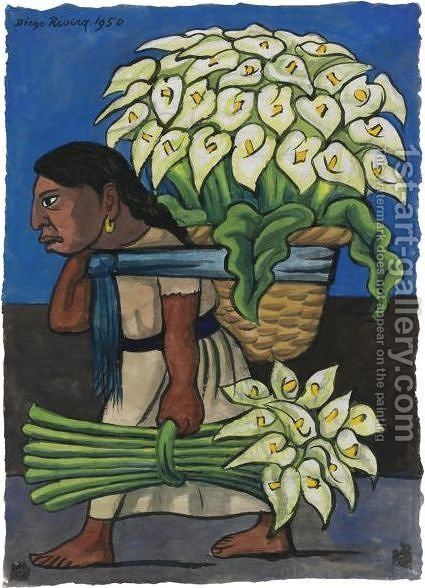 Woman With Calla Lillies On Her Back by Diego Rivera - Reproduction Oil Painting
