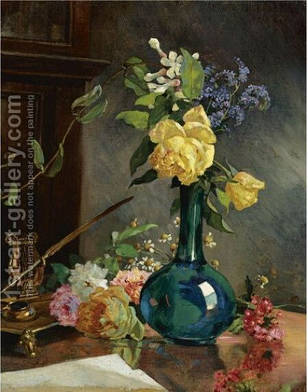 Still Life With Yellow Roses by Arturo Michelena - Reproduction Oil Painting