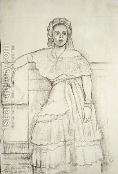 Portrait Of Nina Palou by Diego Rivera - Reproduction Oil Painting
