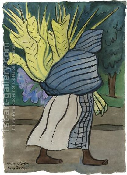 Mujer De Costado Con Palmas by Diego Rivera - Reproduction Oil Painting
