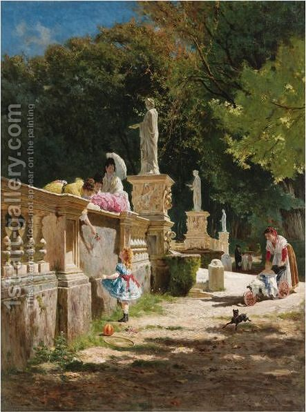 In The Gardens Of The Villa Borghese by Aurelio Tiratelli - Reproduction Oil Painting