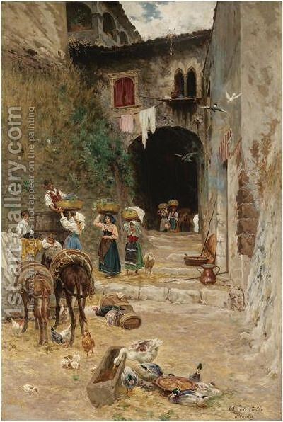 Girls Delivering Grapes To A Village by Aurelio Tiratelli - Reproduction Oil Painting