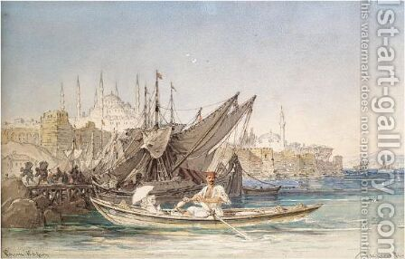 Constantinople Harbour by Amadeo Preziosi - Reproduction Oil Painting