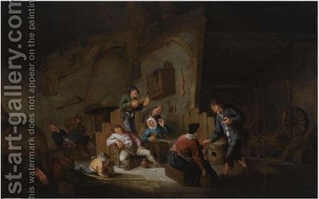 A Barn Interior With Peasants Making Music, Drinking And Dancing by Anthonie Victorijns - Reproduction Oil Painting